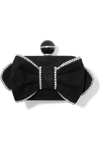Jimmy Choo - Cloud Crystal-embellished Suede Clutch - Black - Cloud Crystal-embellished Suede Clutch