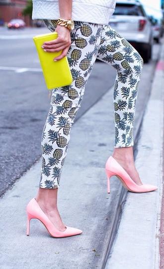 pants fruits print jeans pineapple
