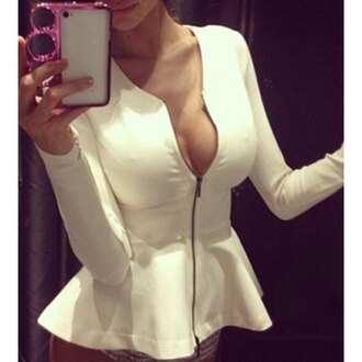 jacket sexy peplum white cleavage rose wholesale white jacket trendy fashion pretty iphone case cardigan long sleeves top trendsgal long sleeves top white long sleeves top white top peplum top white peplum top plunge v neck plunge neckline