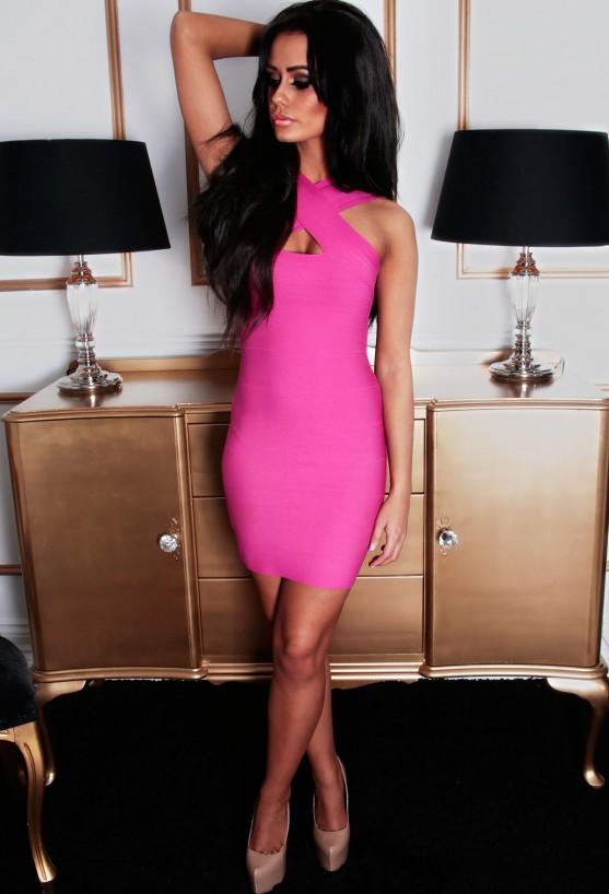 Kissable hot pink bandage wrap mini dress