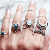 jewels,shop dixi,gypsy,boho,bohemian,hippie,grunge,sterling silver,crescent moon,moonstone ring,knuckle ring,above knuckle ring