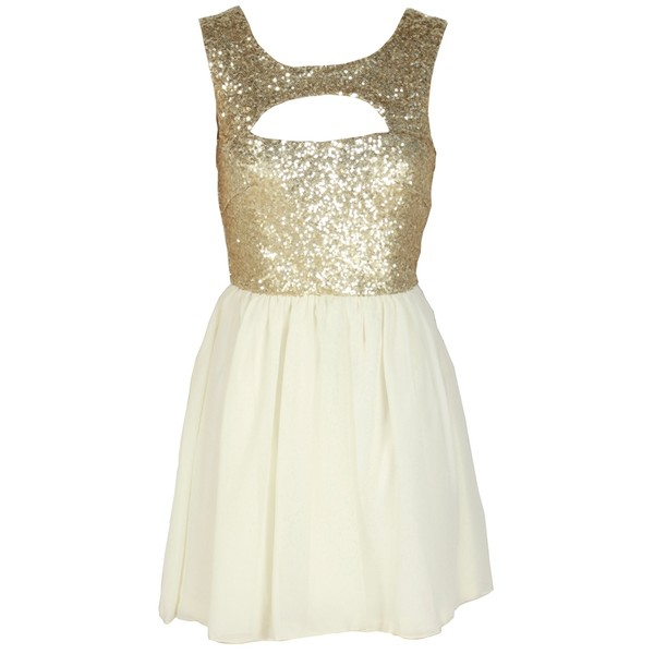 Gold Sequin Embellished Cream Chiffon Dress - Polyvore