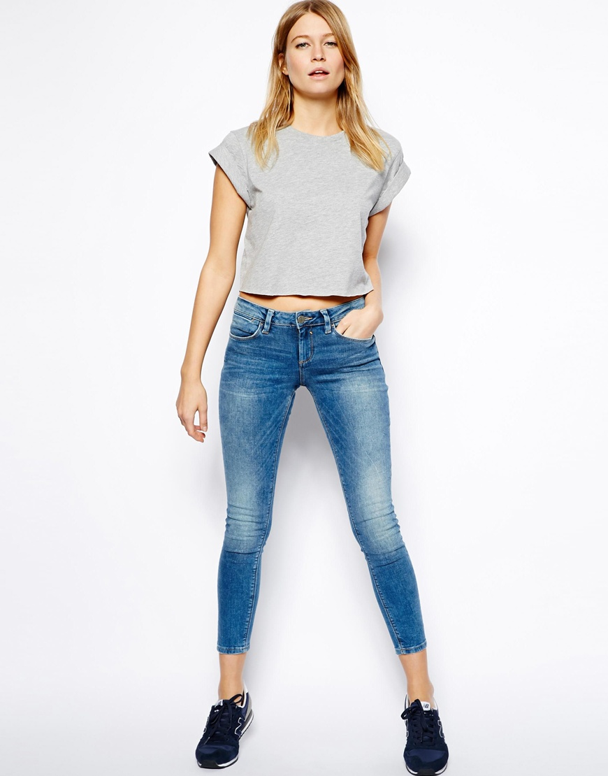 ASOS Cropped Boyfriend T-Shirt with Roll Sleeve at asos.com