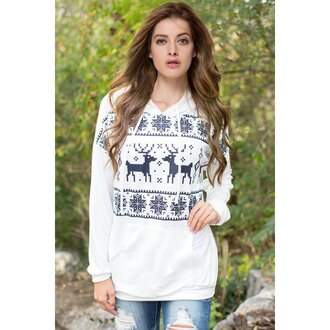 sweater rose wholesale deer hoodie white sweater streetwear christmas sweater girl christmas casual style