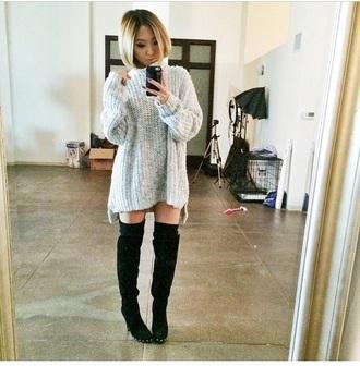 dress grey sweater knitwear thigh high boots sweater dress knitted dress