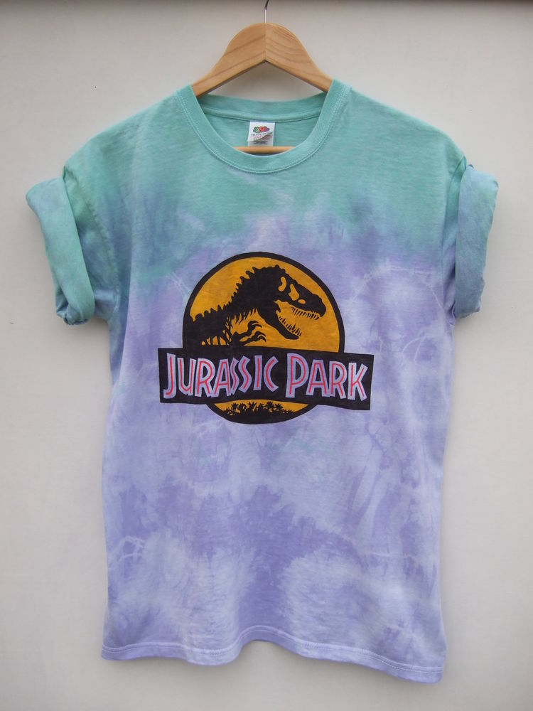 Dip Tie Dye Ombre Dinosaur 90s Grunge Hipster Festival Shirt Oversize - Size L