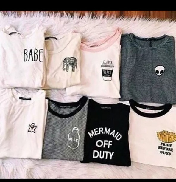 Shirt Top T Shirt Print Grunge Tumblr T-shirt T-shirt Outfit Etsy Alien Babe Elephant ...