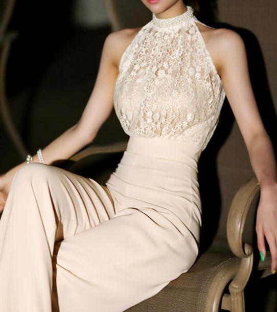 pants jumpsuit beige classy lace elegant