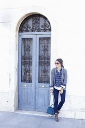 seams for a desire,blogger,cardigan,jeans,bag,tartan,petrol