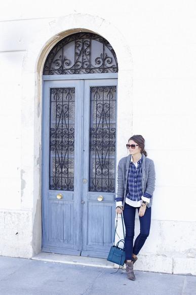 blogger cardigan jeans seams for a desire bag tartan petrol
