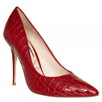 Lucy Choi London Shoes | Adelite Red Croc Pumps