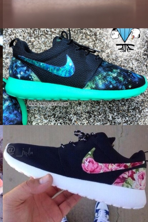 shoes roshe runs flowers