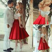 dress,red prom dress,lace prom dress,satin prom dress,prom dress,two pieces prom dresses,short red prom dresses