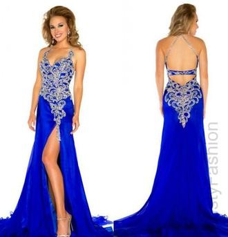 dress blue prom dress gold sequins backless prom dress prom dress royal blue prom dress royal blue royal blue dress