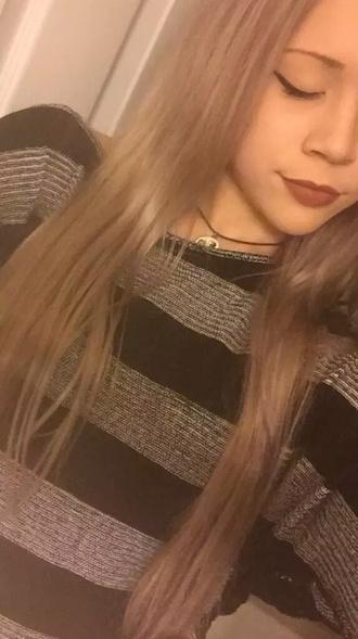 t-shirt black silver stripes blonde hair girl grey women t shirts