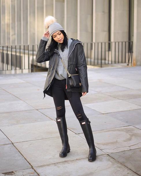 e57cc510b02 hat tumblr beanie pom pom beanie denim jeans black jeans ripped jeans  skinny jeans sweater grey