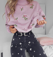 sweater,lilac sweater,lilac,knit,knitted sweater,denim,jeans,embellished denim,belt,double buckle belt