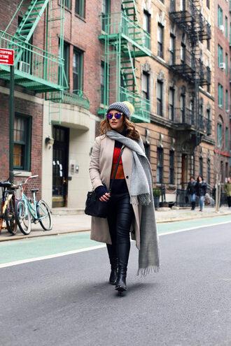 thelittlemagpie blogger coat hat jeans bag shoes sunglasses
