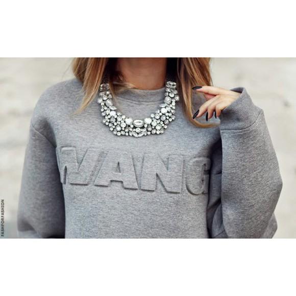 alexander wang grey sweater diamonds necklace