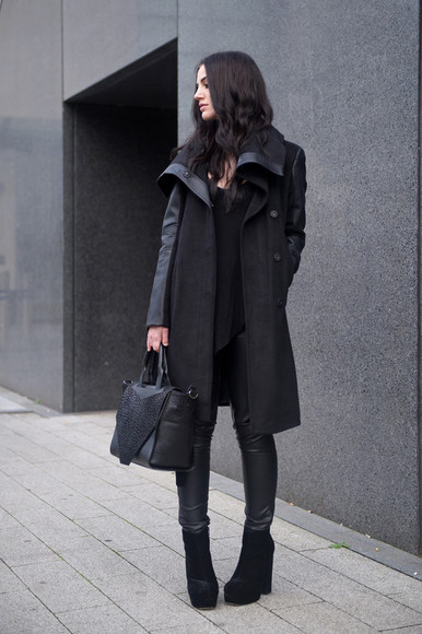 black bag black shoes coat jacket