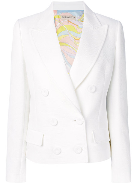 Emilio Pucci blazer cropped women white cotton jacket