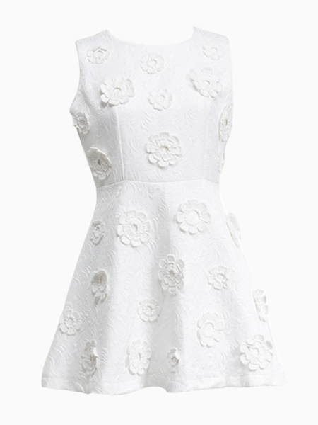 White Sleeveless High Waist Dress in Embossed Print | Choies
