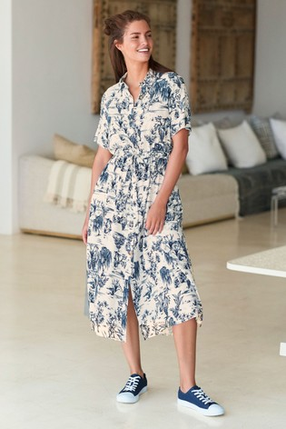 Buy Blue Scenic Button Short Sleeve Shirt Dress from the Next UK online shop