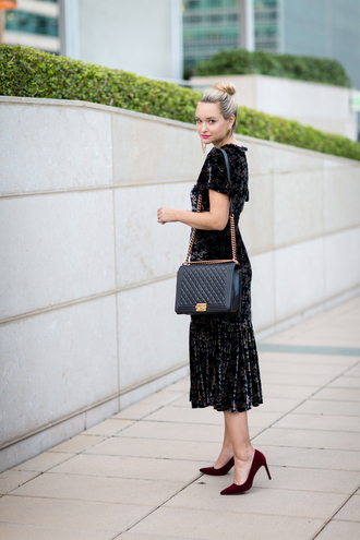 late afternoon blogger dress shoes bag jewels chanel bag chanel black dress midi dress red heels high heel pumps