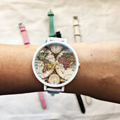 jewels,watch,etsy,handmade,fashion,style,map,map print,leather watch,vintage watch,freeforme watch,summer outfits