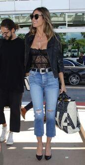 jeans,lingerie,bustier,black,pumps,heidi klum,streetstyle,cannes,celebrity,sexy lingerie,bra,jacket