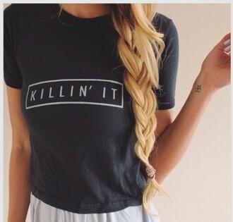 shirt t-shirt klinnin it girl blonde hair ombre hair black white pretty shop love heart