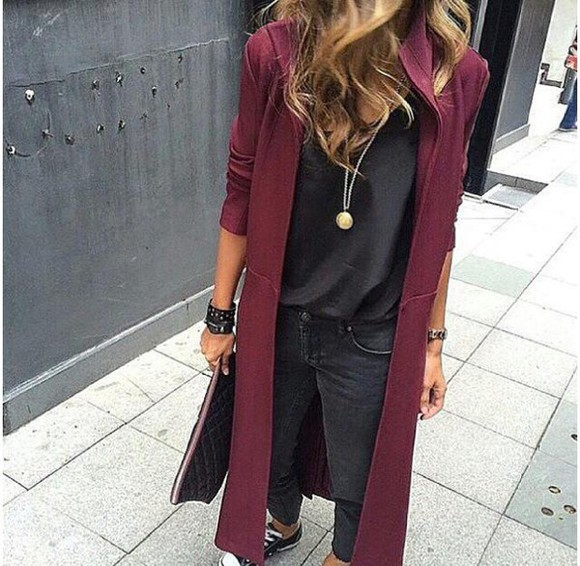 brunette jacket winter coat burgundy necklace converse silk shirt clutch leather bracelet