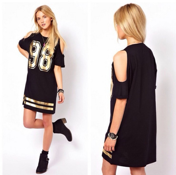 ASOS | ASOS T-Shirt Dress With Cold Shoulder And Foil 98 at ASOS