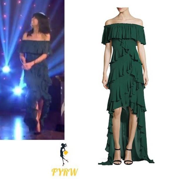 dress claudia winkleman strictly green ruffle dress