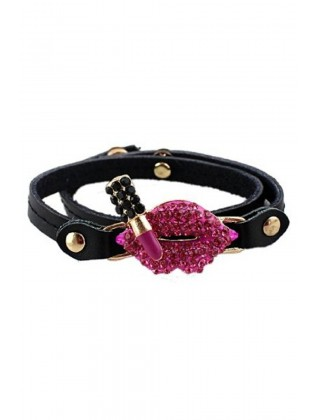 Hot Pink Color Rhinestone Lipstick Pu Leather Charm Bracelets
