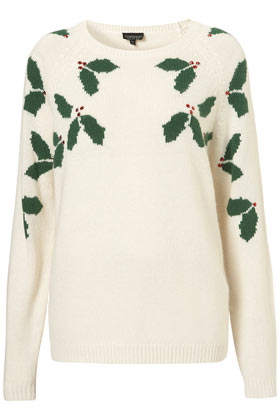 Knitted Xmas Holly Jumper - Topshop
