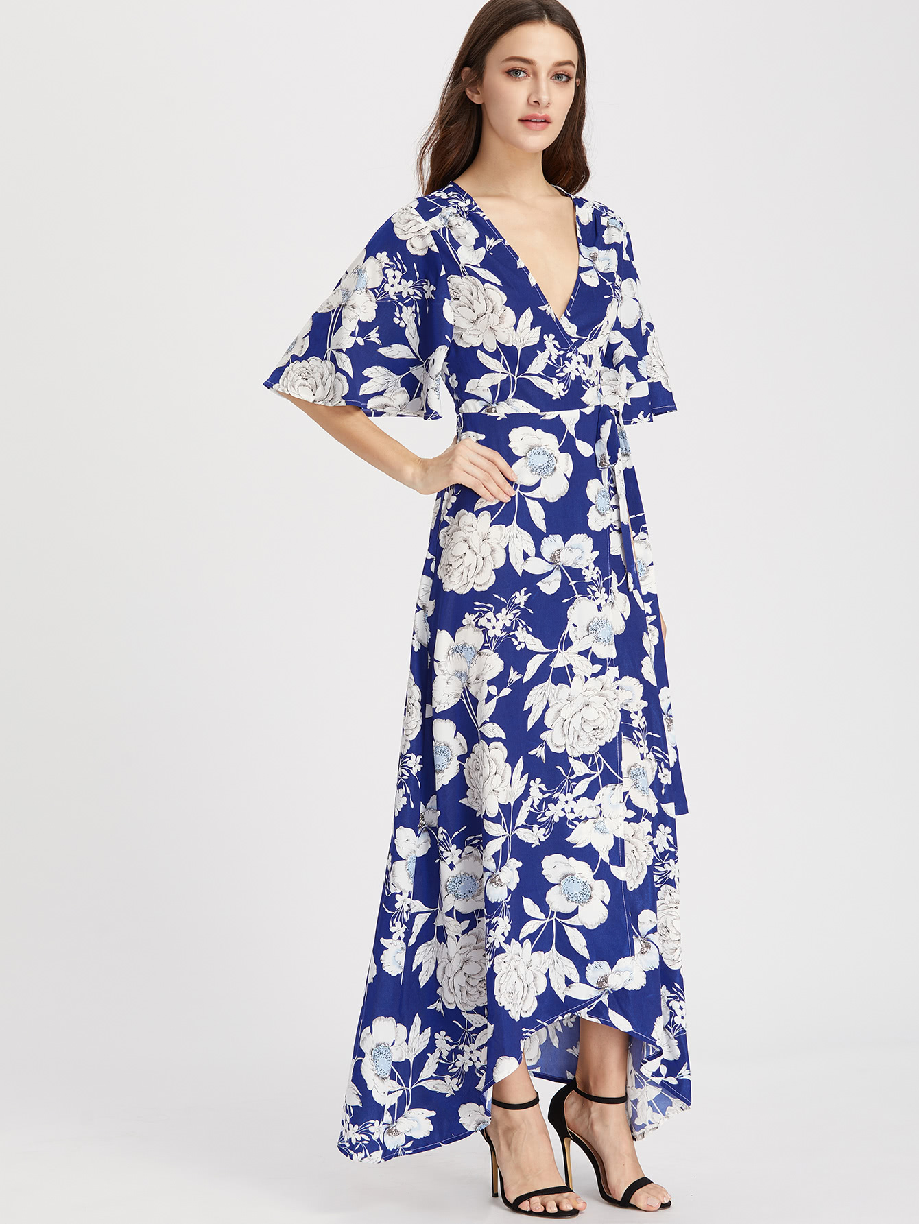 b17c693abb Flower Print Flutter Sleeve Surplice Wrap Dress -SheIn(Sheinside)