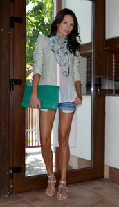 my silk fairytale,jacket,shirt,scarf,shorts,shoes,bag,jewels