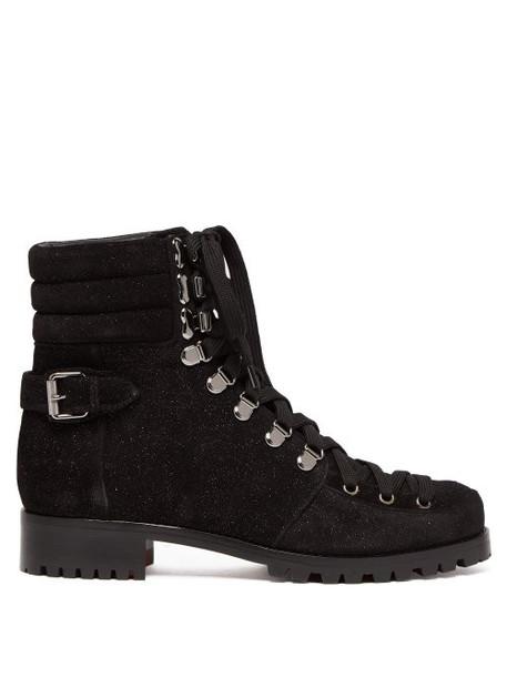 Christian Louboutin - Who Runs Glitter Suede Hiking Boots - Womens - Black