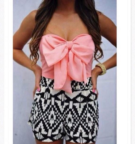 dress aztexprint pink bow jumpsuit top coat shorts romper