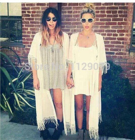 2014 new fashion casual white v neck short sleevesolid tassel long chiffon cardigan jupe OM130-in Blouses & Shirts from Apparel & Accessories on Aliexpress.com | Alibaba Group