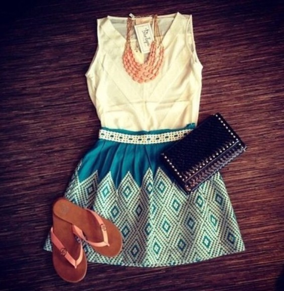 white dress chic black skirt clutch cute turquoise blue weheartit lovely vintage pretty girly flip-flops necklace beige blouse light blue statement necklace high waisted skirt high waisted short flat sandals aqua tribal pattern stripes embroidered
