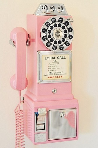 phone cover rotary dial phone home decor decoration cool pink cute technology girly wishlist crosley classic desk phone