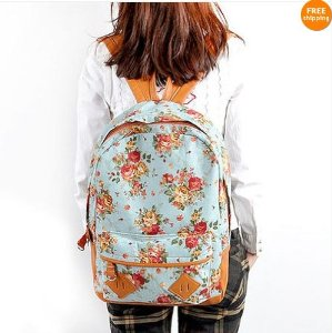 Blue Canvas Rucksack Vintage Flower Backpack School: Amazon.co.uk: Electronics