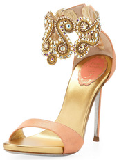 shoes,rene caovilla crystal embellished ankle bracelet sandal