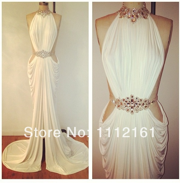 Aliexpress.com : Buy Sexy Sheath Satin Evening Dresses Vestidos Inspired by Michael Costello High Collar Beaded Rhinestones Belt Prom Party Dresses from Reliable dress up wedding party suppliers on babybridal