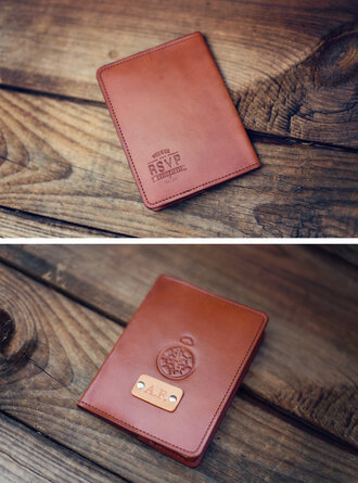 leather initials brown leather passport cover mens accessories travel