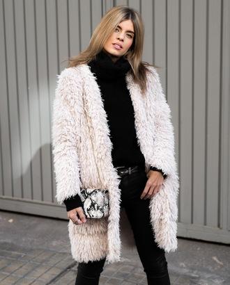 ms treinta blogger coat jeans sweater shoes bag fuzzy coat black jeans