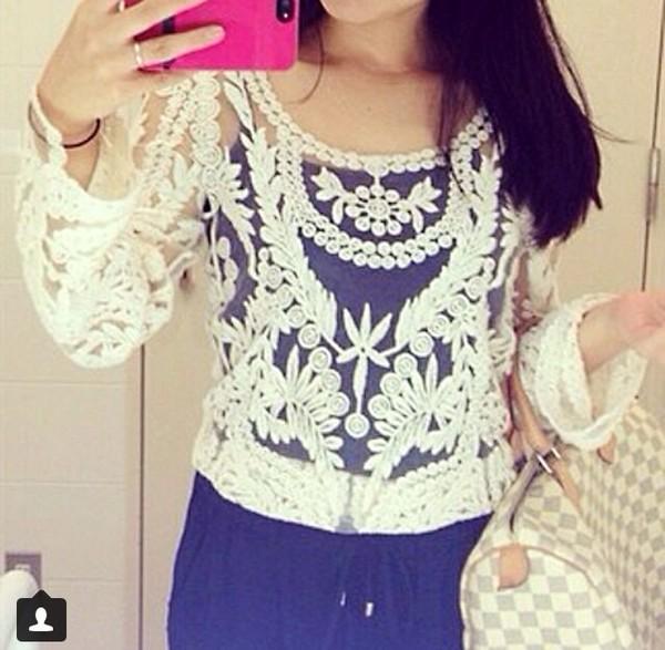 shirt checkered purse crochet lace blouse blue dress