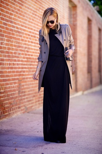 late afternoon blogger sunglasses maxi dress trench coat classy